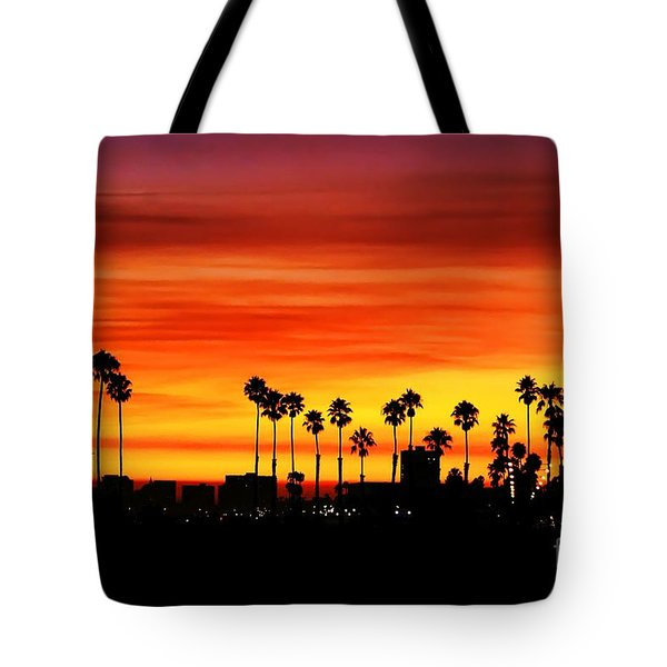 Tote Bag featuring the photograph Fire Sunset In Long Beach by Mariola Bitner
