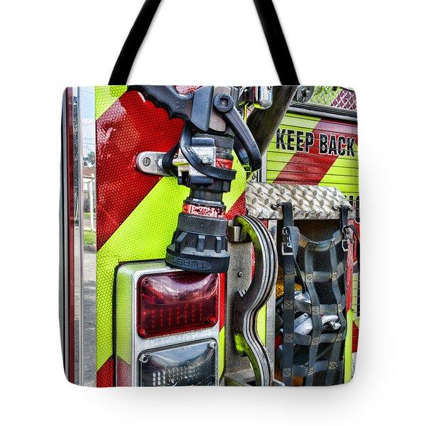 Fire Truck - Keep Back 300 Feet Tote Bag by Paul Ward
