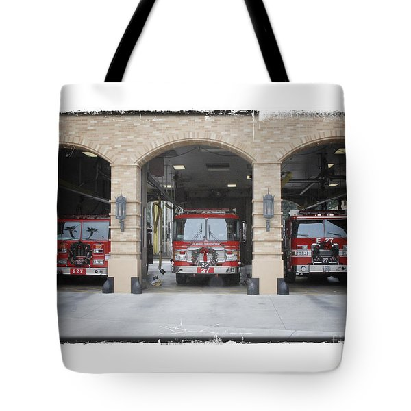 Fire Trucks At The Lafd Fire Station Are Decorated For Christmas Tote Bag by Nina Prommer