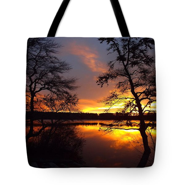 Tote Bag featuring the photograph Sunrise Fire by Dianne Cowen