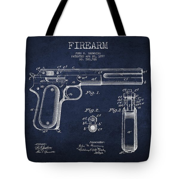 Firearm Patent Drawing From 1897 Tote Bag