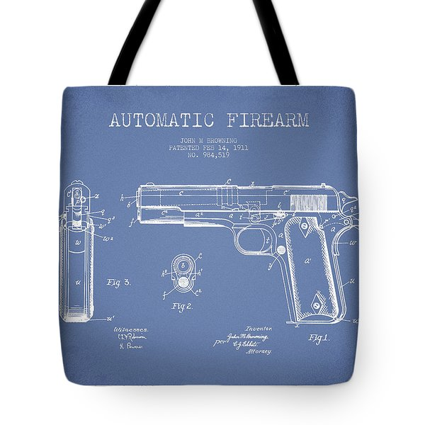 Firearm Patent Drawing From 1911 - Light Blue Tote Bag