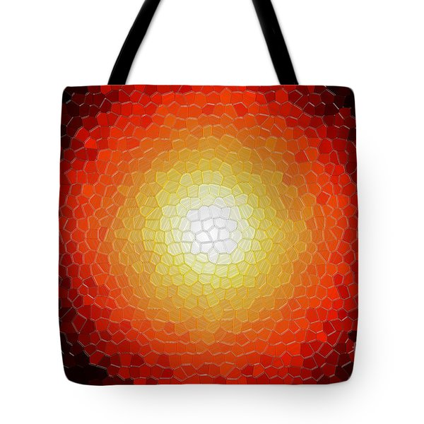 Fireball Sunburst A Tiffany Look Stain Glass Tote Bag by Andee Design