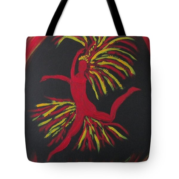 Tote Bag featuring the painting Firebird by Sharyn Winters
