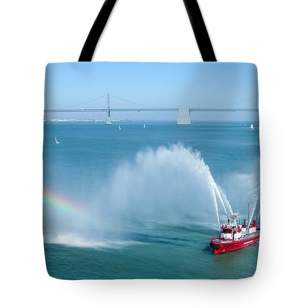 Tote Bag featuring the photograph Fireboat Salute by John M Bailey