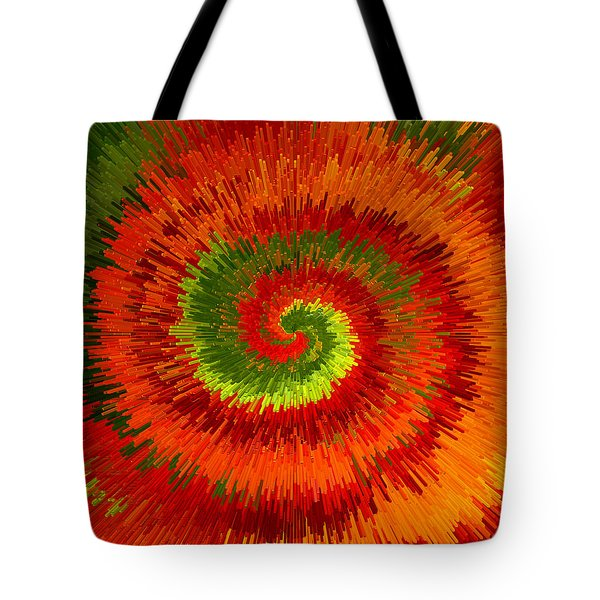 Tote Bag featuring the photograph Fireburst Extrusion by Ellen Tully