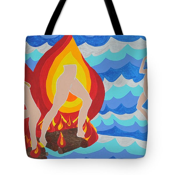 Tote Bag featuring the painting Fired by Erika Chamberlin