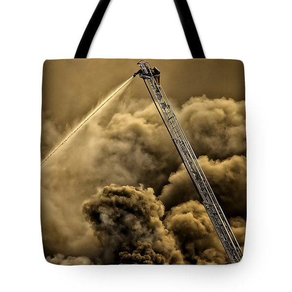 Firefighter-heat Of The Battle Tote Bag by David Millenheft