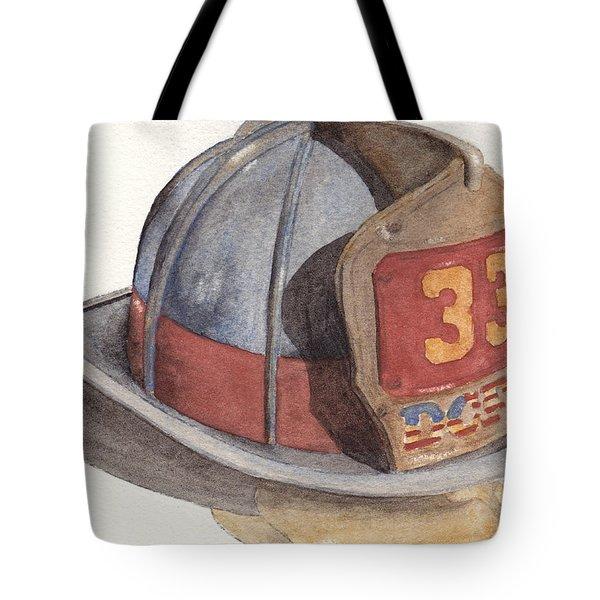 Firefighter Helmet With Melted Visor Tote Bag