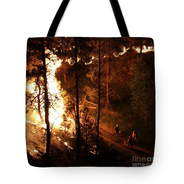 Firefighters Burn Out On The White Draw Fire Tote Bag