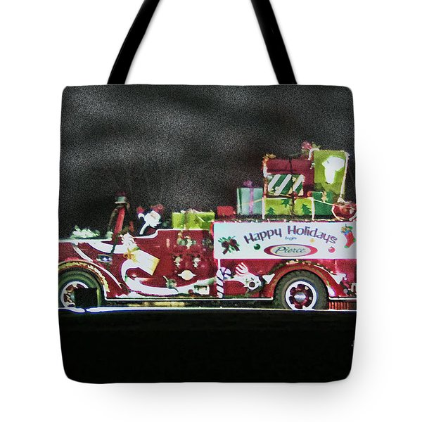 Firefighters Christmas Tote Bag by Tommy Anderson