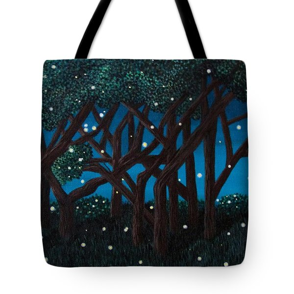 Tote Bag featuring the painting Fireflies by Cheryl Bailey