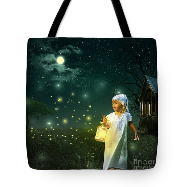 Fireflies Tote Bag by Linda Lees