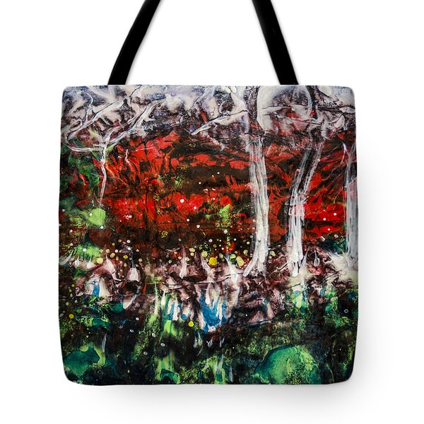 Tote Bag featuring the painting Fireflies by Ron Richard Baviello