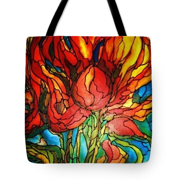 Tote Bag featuring the painting Fireflower by Rae Chichilnitsky