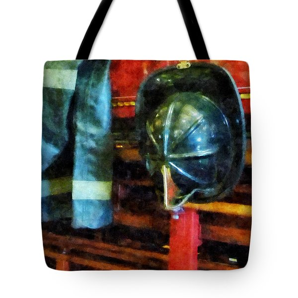 Fireman - Fireman's Helmet And Jacket Tote Bag by Susan Savad