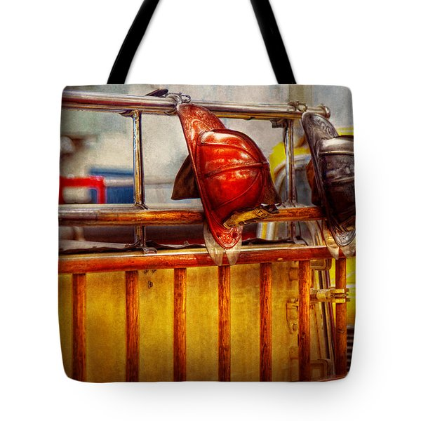 Fireman - Hat - Waiting For A Hero  Tote Bag by Mike Savad