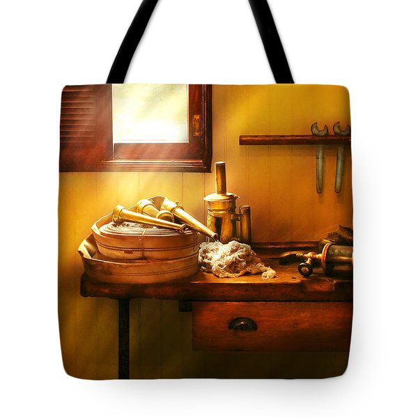 Fireman - The Humble Fire Hose Tote Bag by Mike Savad