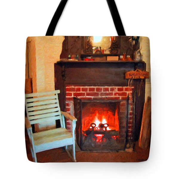 The Family Hearth - Fireplace Old Rocking Chair Tote Bag