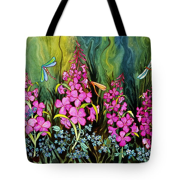 Fireweed And Dragonflies Tote Bag