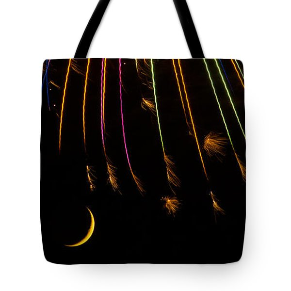 Firework Indian Headdress Tote Bag by Darryl Dalton
