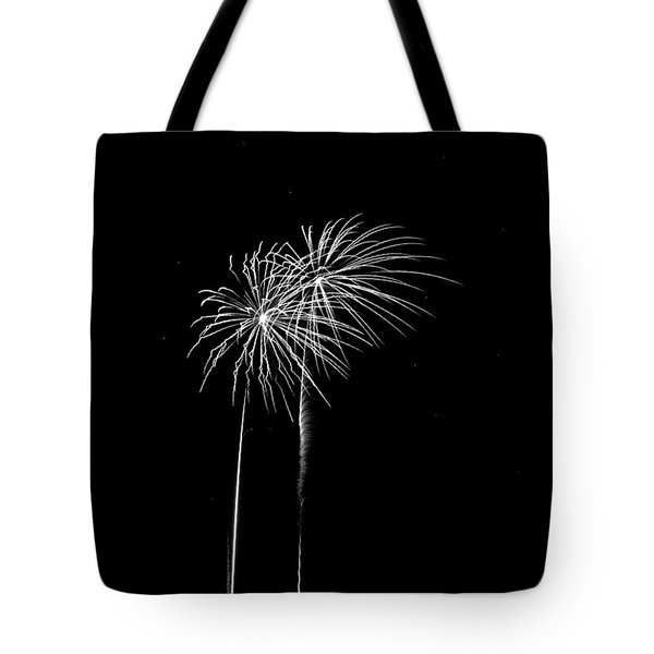 Firework Palm Trees Tote Bag by Darryl Dalton