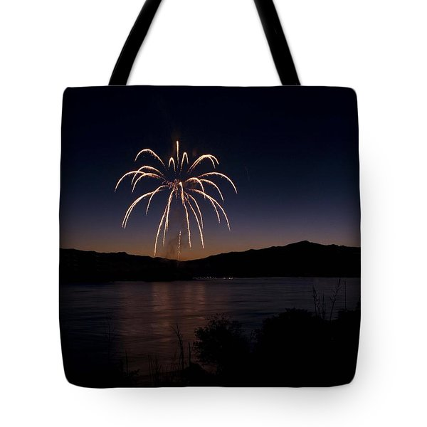 Tote Bag featuring the photograph Fireworks 11 by Sonya Lang