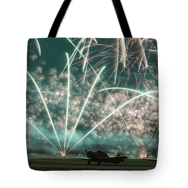 Fireworks And Aircraft Tote Bag