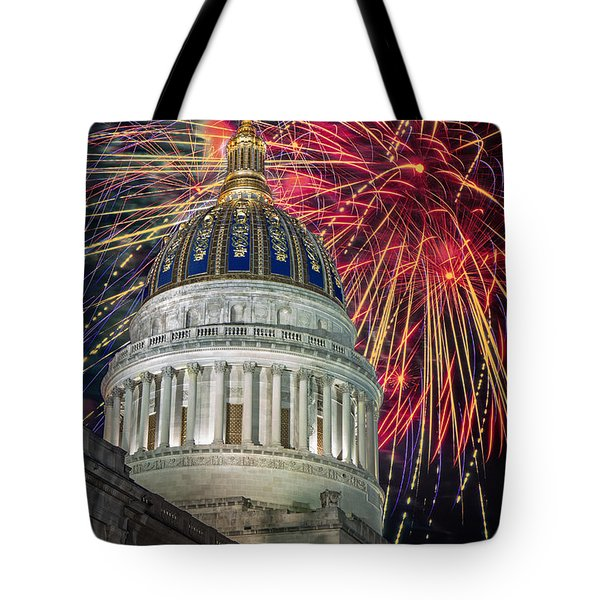 Fireworks At Wv Capitol Tote Bag