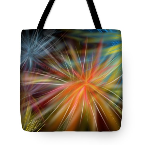 Tote Bag featuring the digital art Fireworks by Christine Fournier