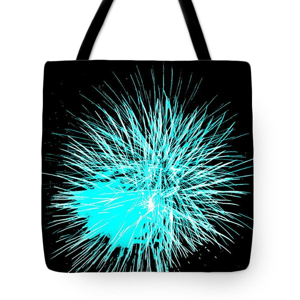 Fireworks In Blue Tote Bag by Michael Porchik