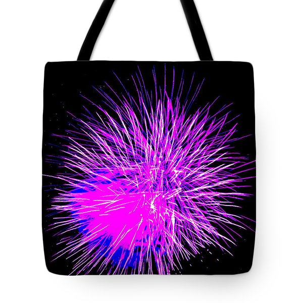 Fireworks In Purple Tote Bag by Michael Porchik