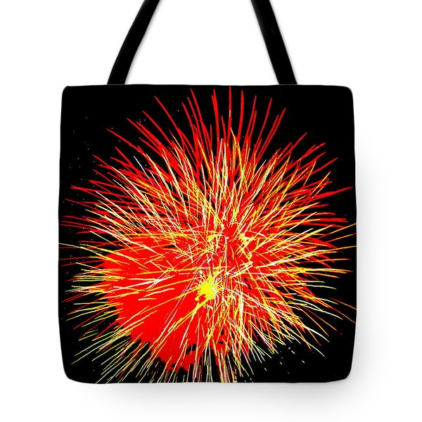 Fireworks In Red And Yellow Tote Bag by Michael Porchik