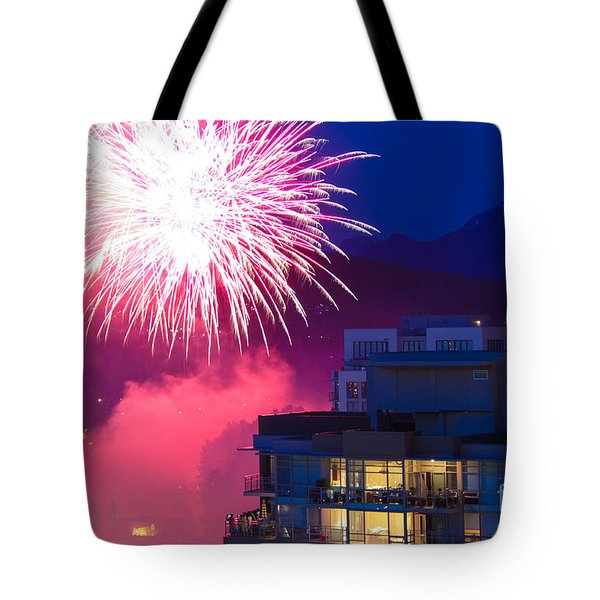 Fireworks In The City Tote Bag by Nancy Harrison