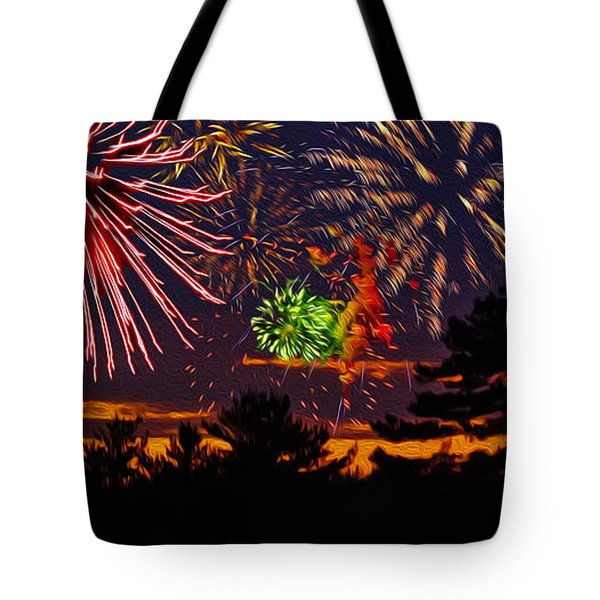 Tote Bag featuring the photograph Fireworks No.1 by Mark Myhaver