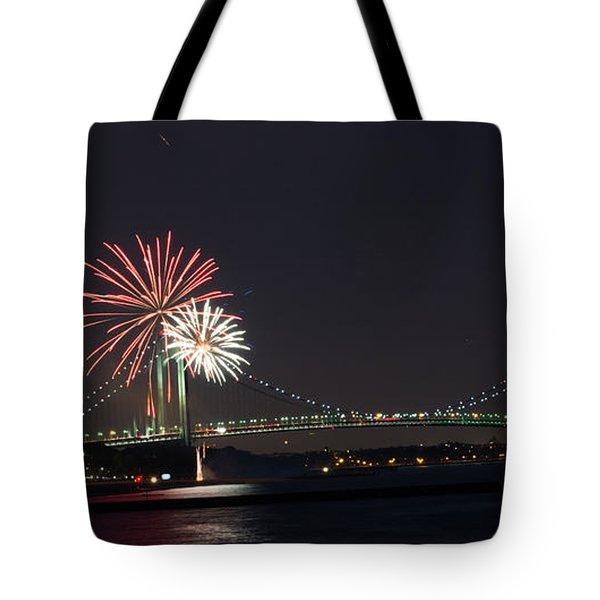 Fireworks Over Verrazano Bridge Tote Bag