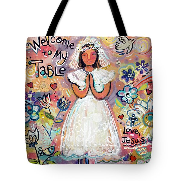 First Communion Girl Tote Bag by Jen Norton