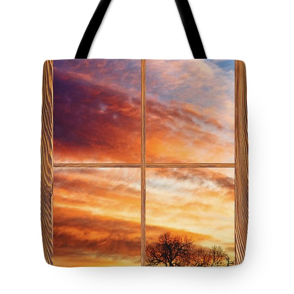 First Dawn Barn Wood Picture Window Frame View Tote Bag by James BO  Insogna