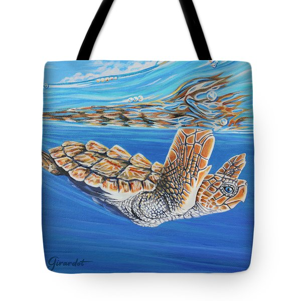 Tote Bag featuring the painting First Dive by Jane Girardot
