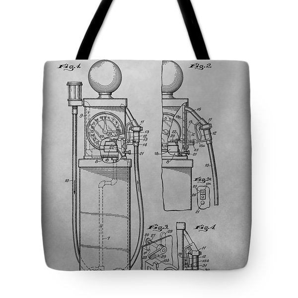 First Gas Pump Patent Drawing Tote Bag