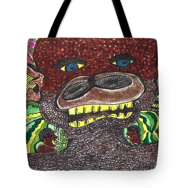 Tote Bag featuring the drawing First Jungle by Don Koester