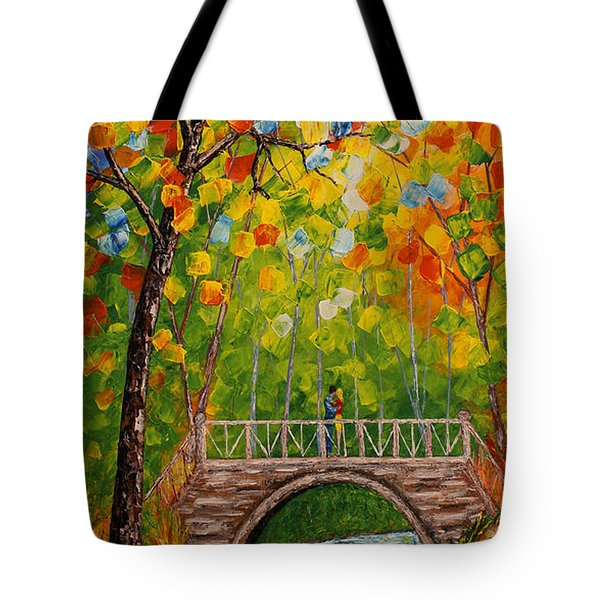 Tote Bag featuring the painting First Kiss On The Bridge Original Acrylic Palette Knife Painting by Georgeta Blanaru