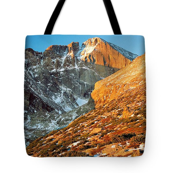 First Light At Longs Peak Tote Bag