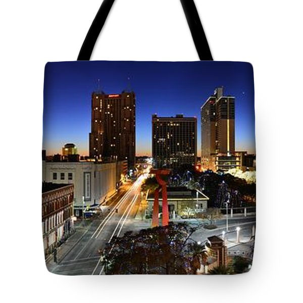 First Light On San Antonio Skyline - Texas Tote Bag