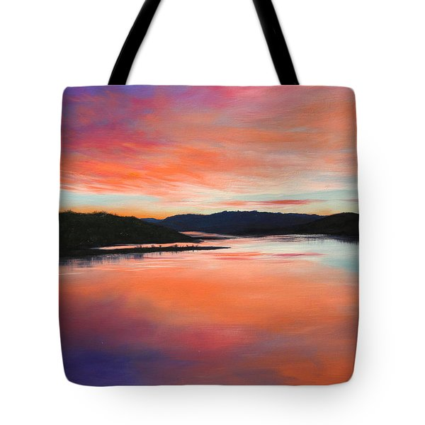 Tote Bag featuring the painting Arkansas River Sunrise by Glenn Beasley