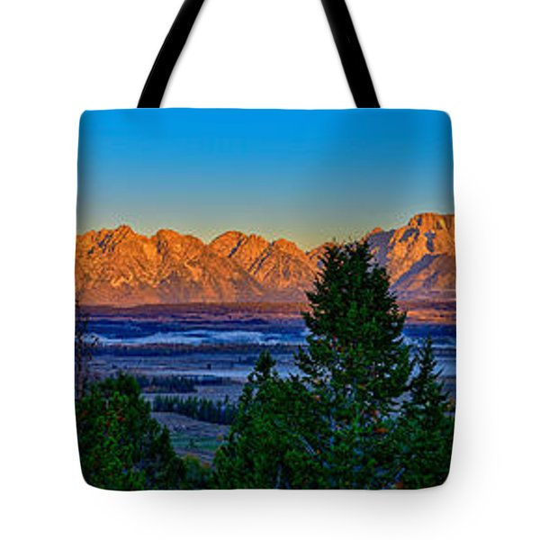 First Light On The Tetons Tote Bag