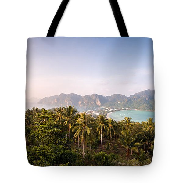 First Light Over Tropical Island Tote Bag