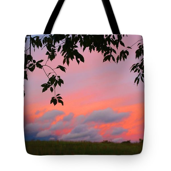 Tote Bag featuring the photograph First October Sunset by Kathryn Meyer