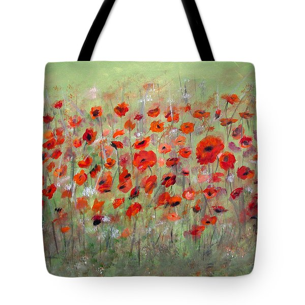 Tote Bag featuring the painting First Poppies by Dorothy Maier