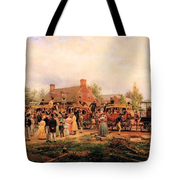 First Railroad Train On The Mohawk And Hudson Tote Bag by Edward Henry